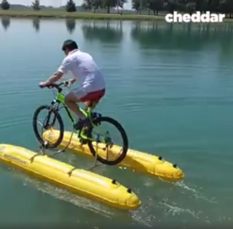 New Invention That Let's You Cycle On Water Can Be Put In A Backpack image 1