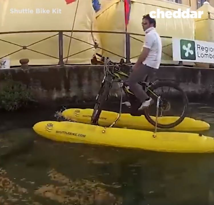New Invention That Let's You Cycle On Water Can Be Put In A Backpack image 6