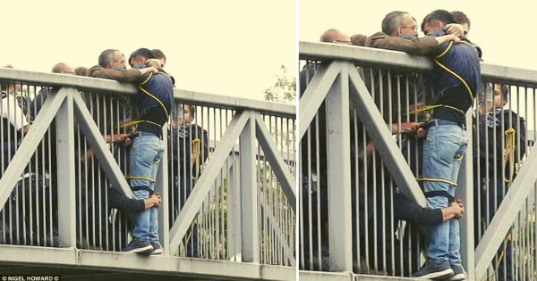 man want to jump bridge in london