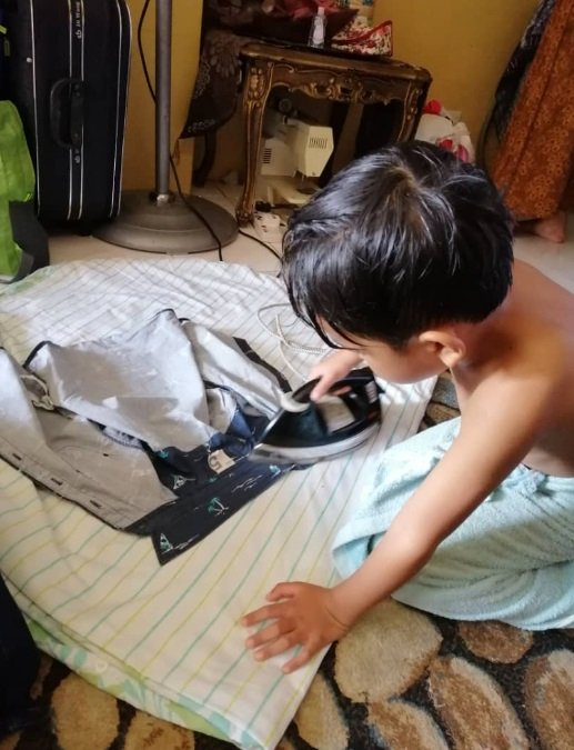 Kid Prefer Helping Parents ironing