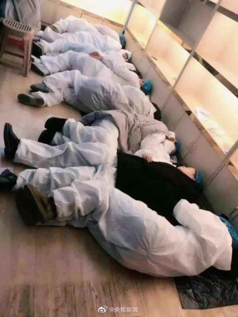 Photos of overworked doctors